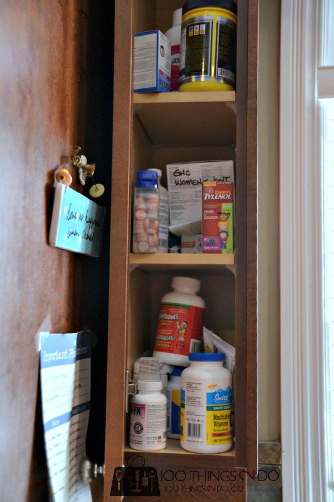Unorganized and over-stocked medicine cabinet