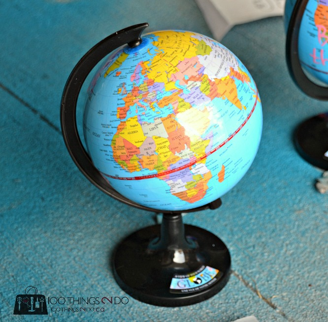 Painted globe, globe decor, dollar store decor, repurposed globe