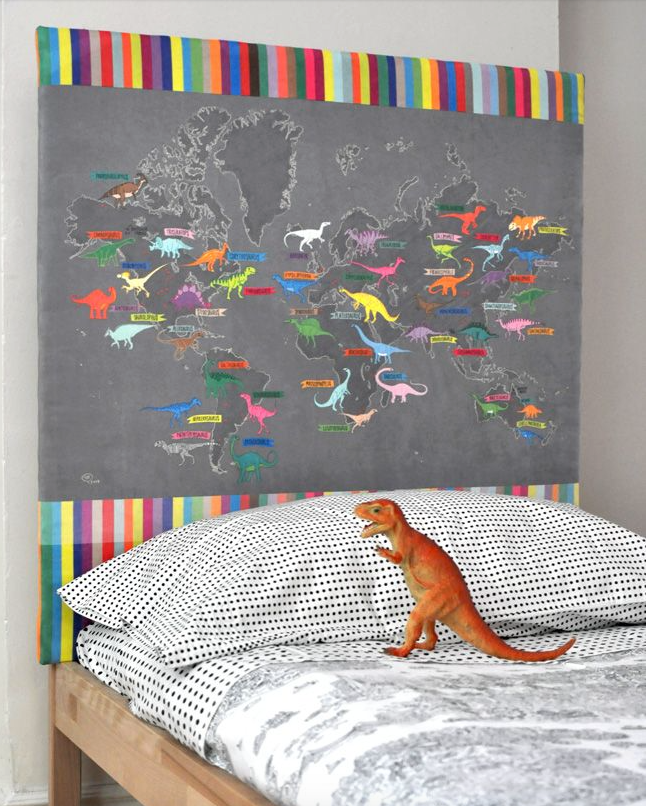 Dinosaur map headboard - Spoonflower