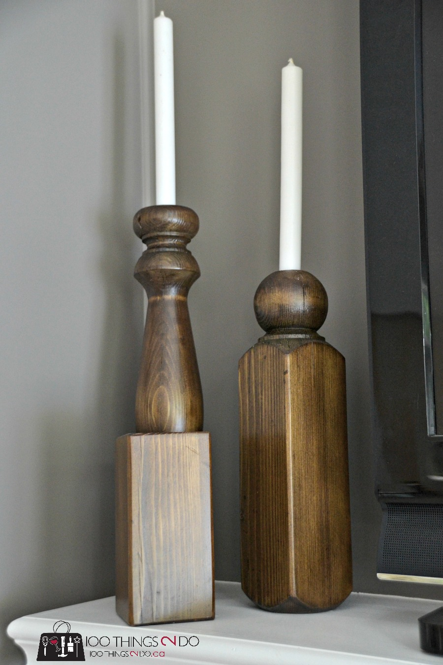 DIY candle holders, candle holders, repurposed fence post, rustic candle holders, Fence post / baluster repurposed into rustic candles