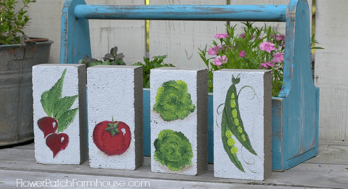 Garden markers - vegetable markers from bricks