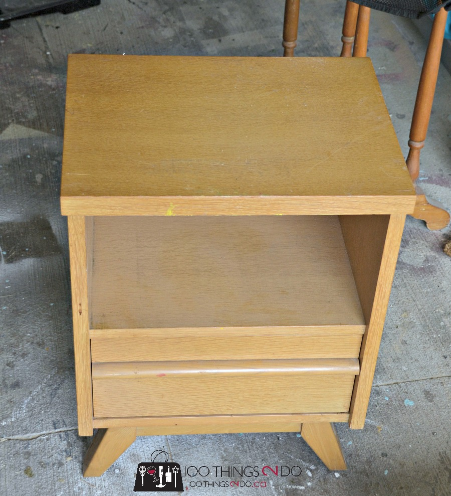 Nightstand makeover, bedside table makeover, mid-century modern night stand, painted night stand