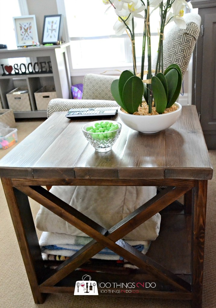 Rustic X side table, DIY side table, build your own side table