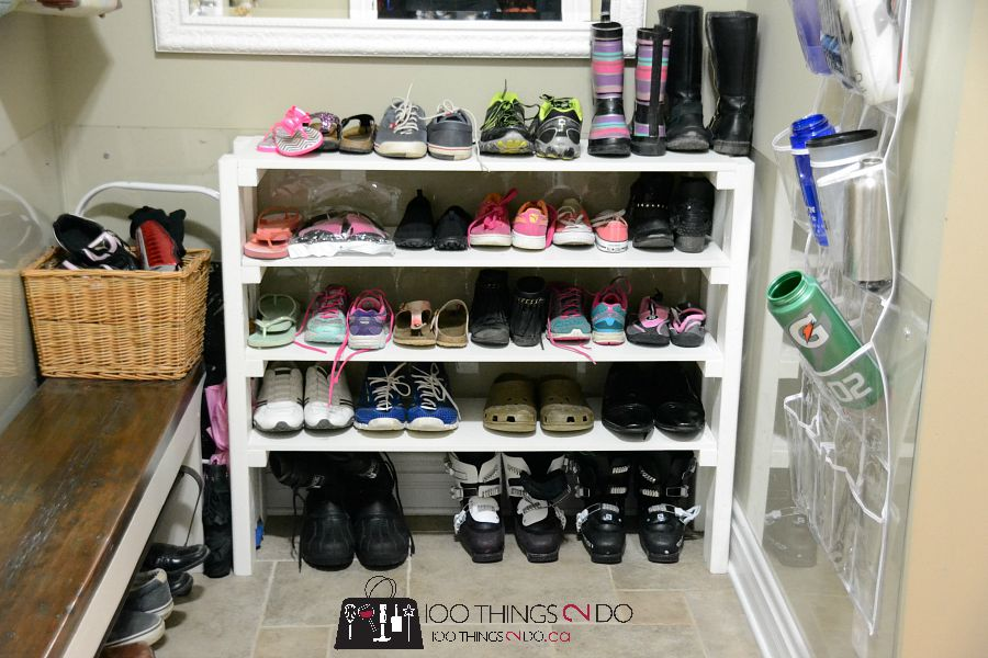 Easy DIY shoe rack, build your own shoe rack, DIY shoe rack, mudroom storage