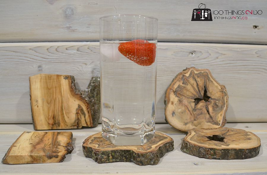 Branch coasters - level glass test.