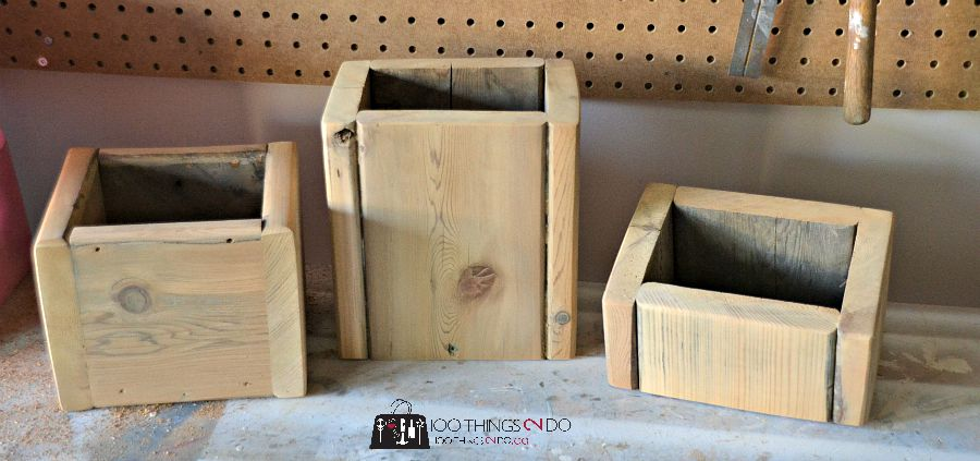 Wood flower box for indoor flower arrangements - rustic-chic!
