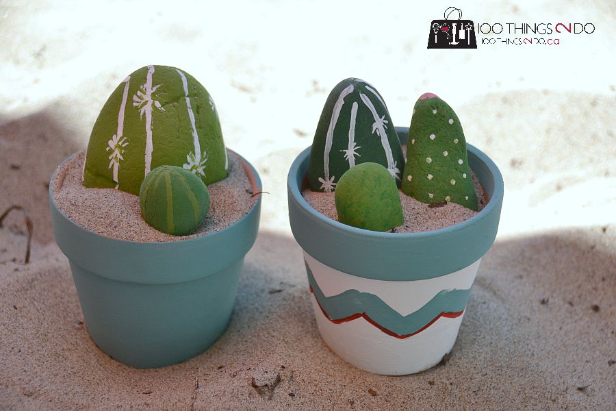 Painted rocks - cactus garden