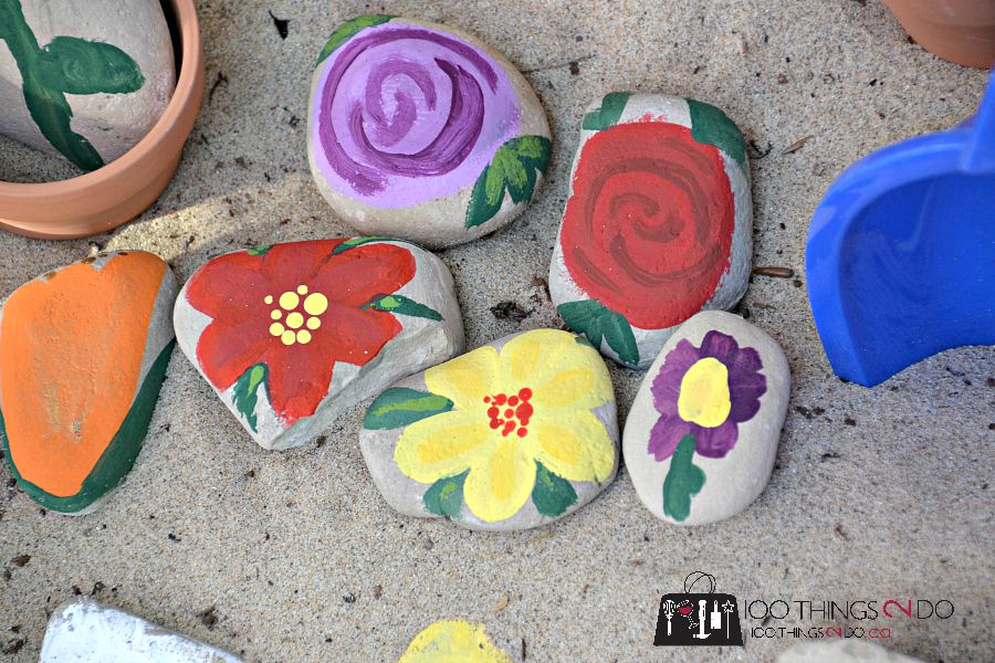 Painted Rocks - flowers