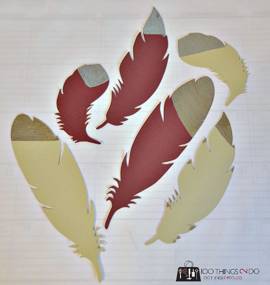 Paper feathers for place settings, book marks, gift toppers etc.