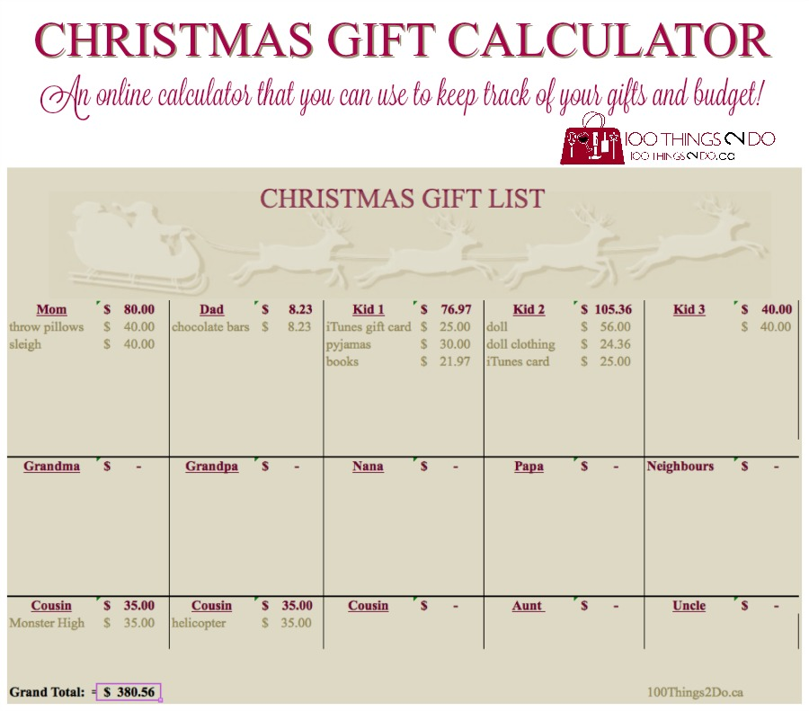 Christmas gift calculator - an online calculator that you can use to keep track of your Christmas gift purchases and budget!