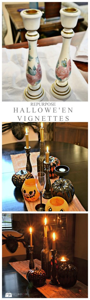 Spooky tablescape from thrift store items