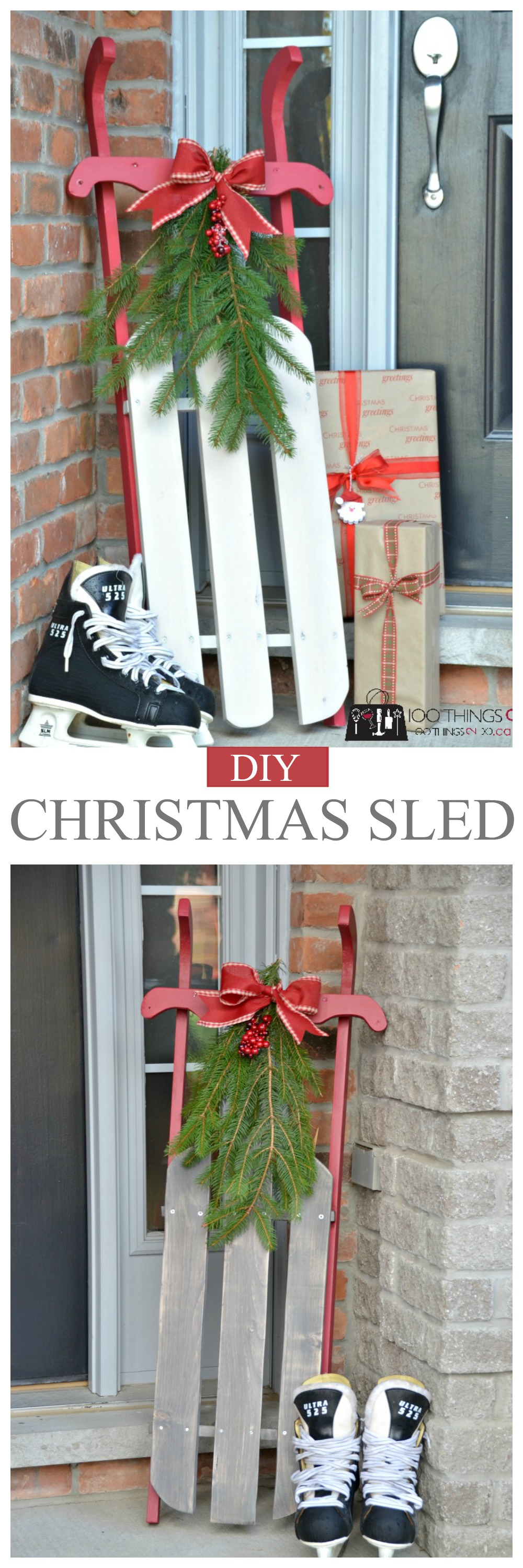 wood sled f have a great one - Wooden Sled Decoration Christmas