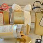 Upcycle empty tins into designer tins for delivering Christmas goodies!