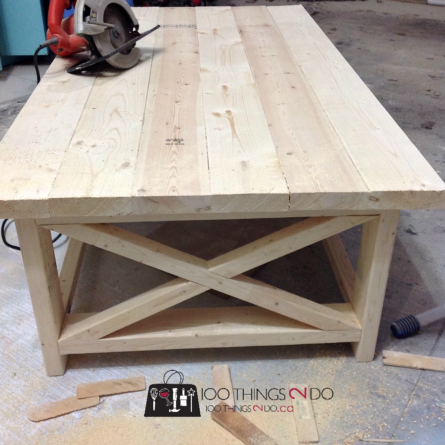 DIY Rustic X Coffee Table 2. Either way, you'll want to use a Kreg Jig and  pocket screws PLUS wood glue to give your bottom shelf strength.