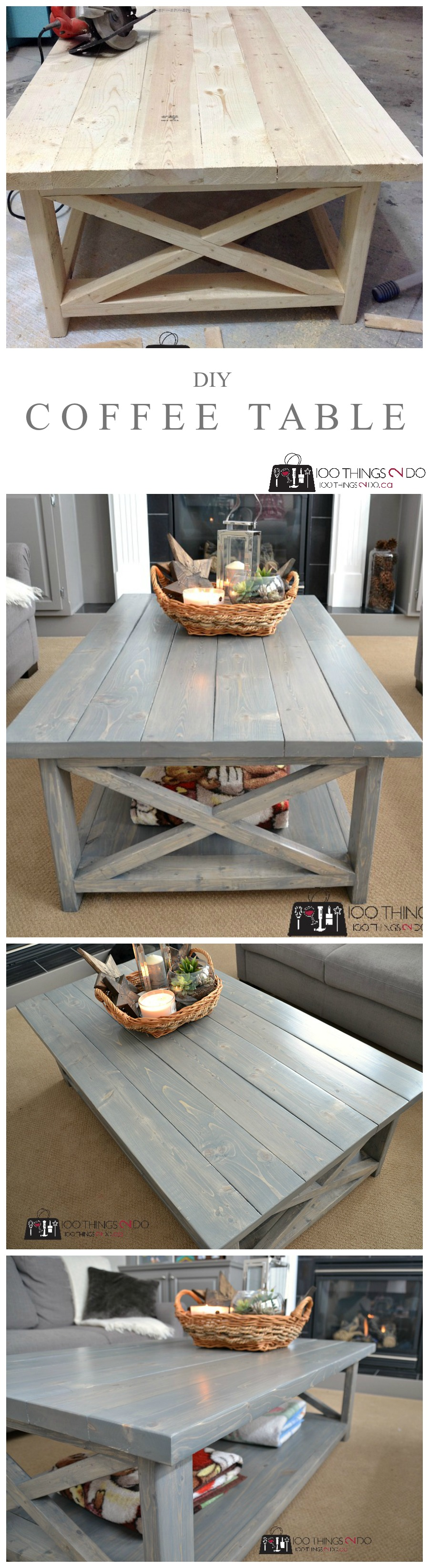 - DIY Coffee Table - Rustic X