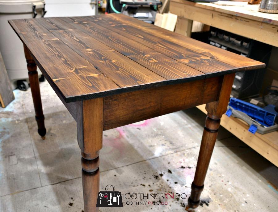 Antique farmhouse table desk 6