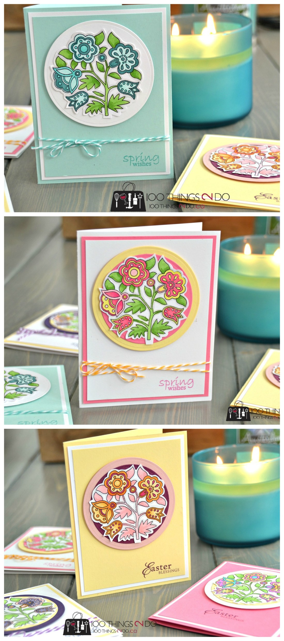 Easter Wishes - adult colouring Easter cards p