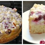 Sour cream coffee cake with raspberry cheesecake filling and shortbread streusel