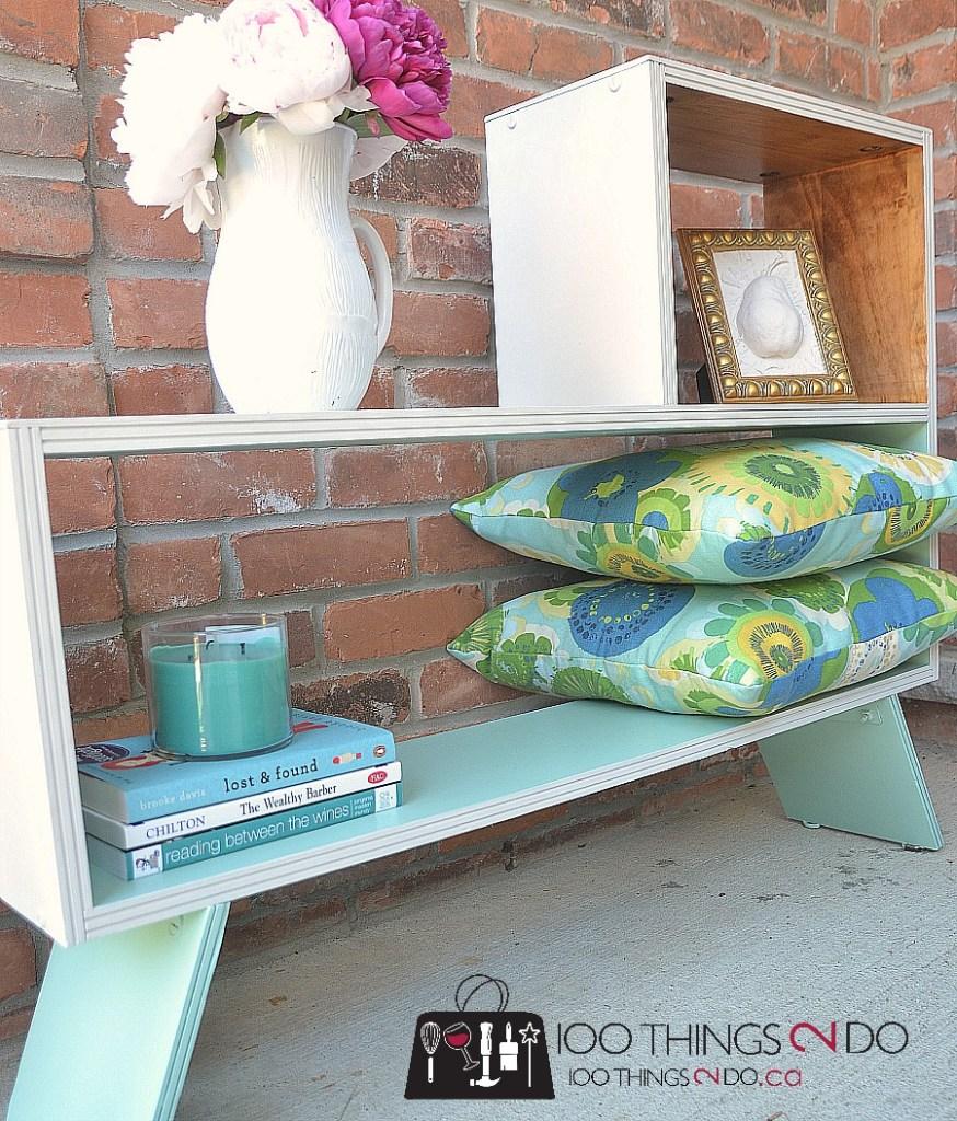 Mid-century bookshelf makeover, refinished bookshelf, mineral paint
