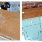 Take an old sideboard and mix it with some Irish fun and a great pair of knobs and you get this fantastic buffet makeover! Painted furniture, furniture makeover, mint furniture