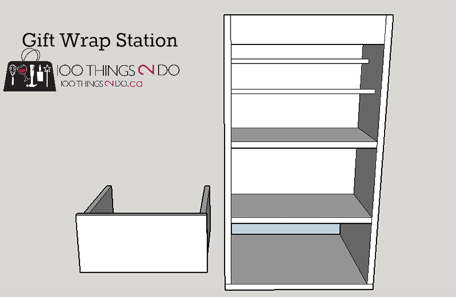 Free (Easy) plans - DIY gift wrap station. Gift wrap caddy, wrapping dolly, portable gift wrap centre, gift wrap organization