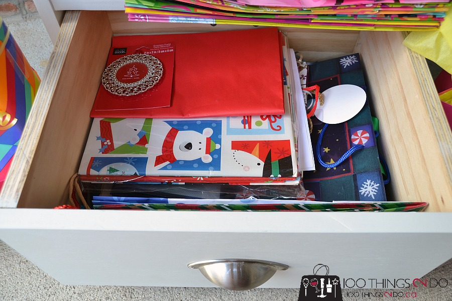 DIY gift wrap station. Gift wrap caddy, wrapping dolly, portable gift wrap centre, gift wrap organization