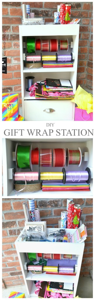 Free (& easy) plans: DIY gift wrap station. Gift wrap caddy, wrapping dolly, portable gift wrap centre, gift wrap organization