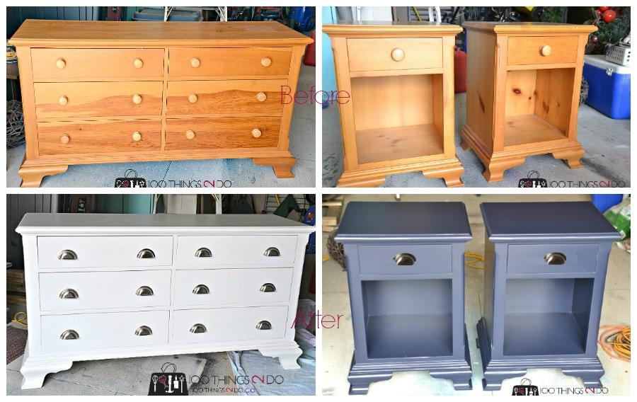 Dresser makeover, before and after dresser, painted dresser, pine dresser, refinished dresser