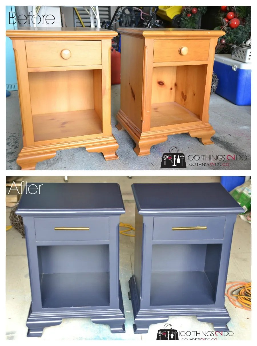 Nightstand makeover, navy blue nightstand, navy bedside tables, Hale Navy, painted nightstand, refinished nightstand