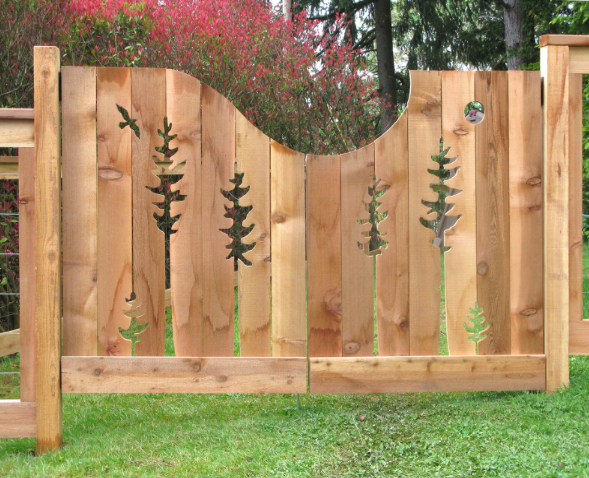 Fence mural, fence art, painted fence, garden art, carved fence