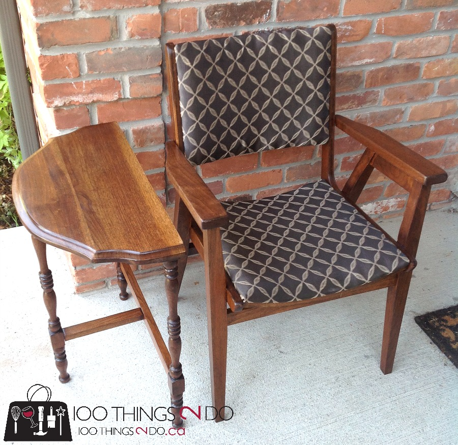 Office Chair Makeover, Wood Office Chair, Refinished Wood Chair, Reupholstered  Chair, Waiting