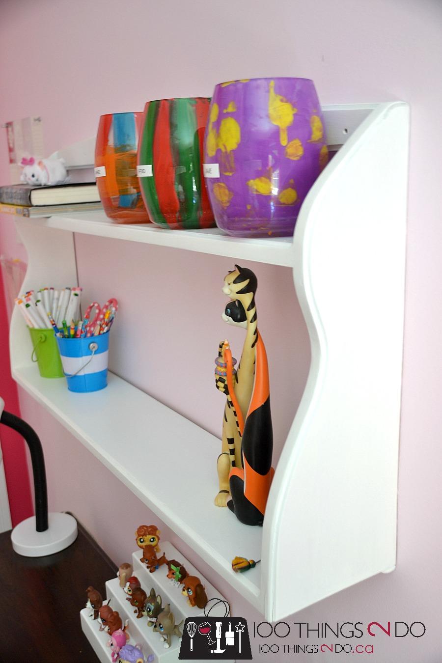 Shelf makeover, white shelf, desk shelf, shelf above desk