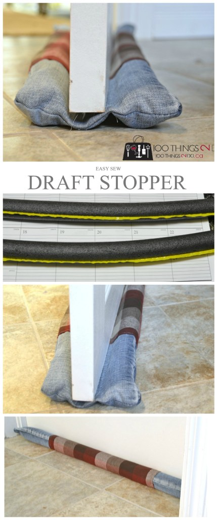 draft stopper, door draft stopper, double-sided draft stopper, easy sewing draft stopper, repurposed jeans