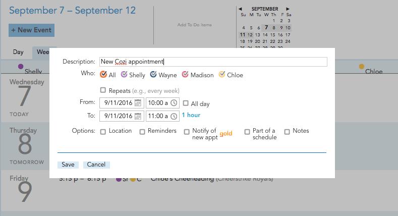 Cozi family calendar, family calendar app, family calendar, online calendar