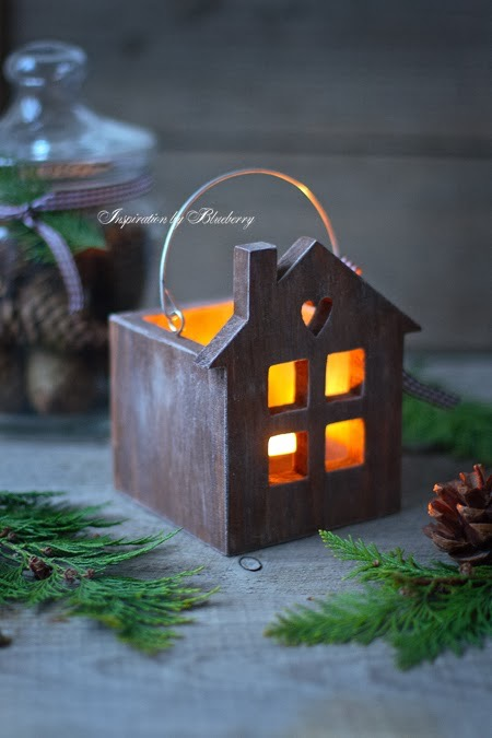Wood tea light house, tea light house
