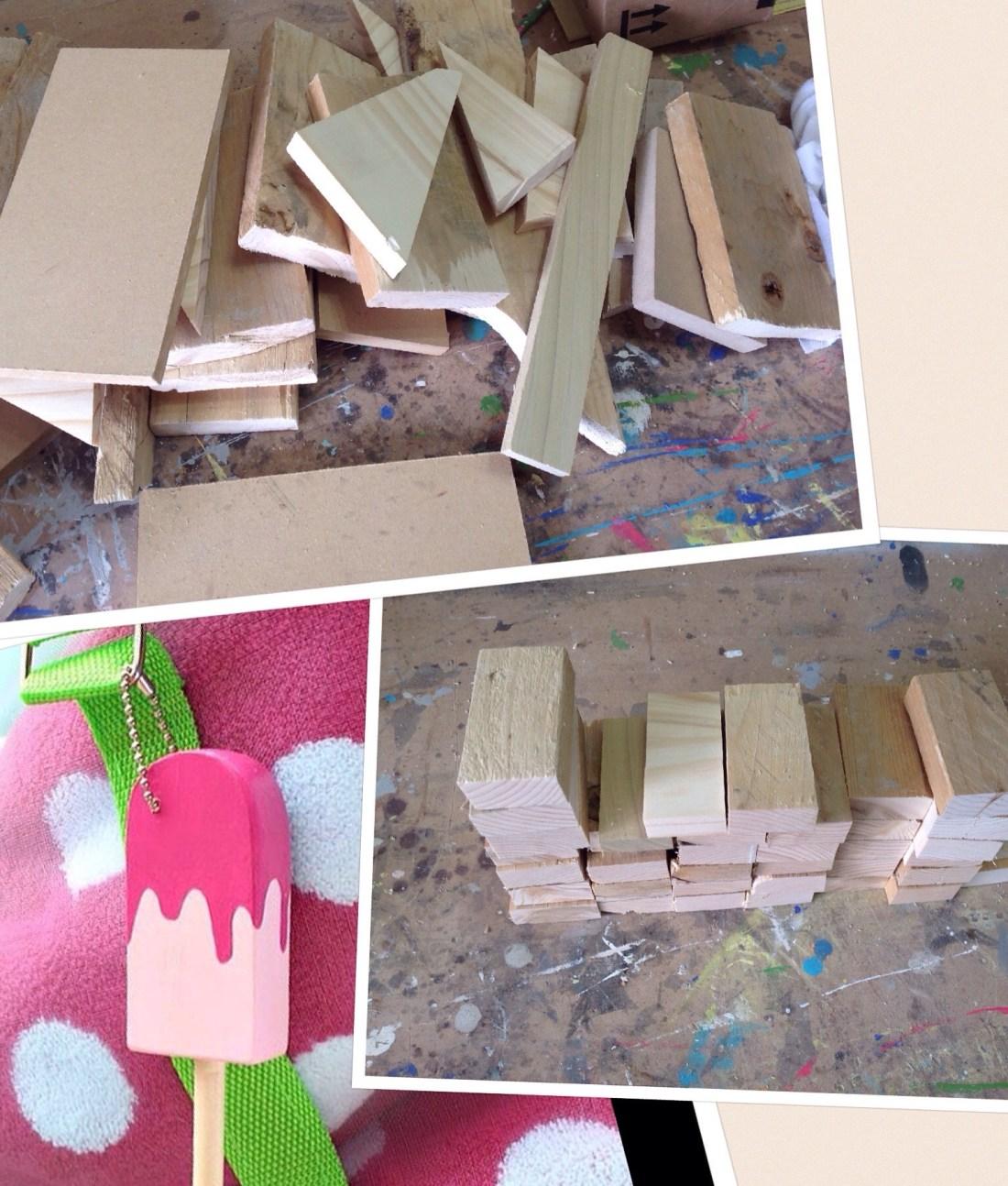 Scrap wood key fobs, scrap wood popsicles, popsicle keychain