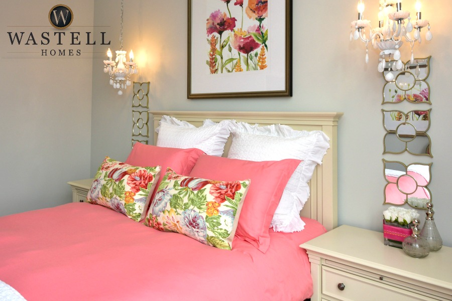 girls bedroom, tween bedroom, feminine bedroom, gray owl Benjamin Moore, dream home, model home, Wastell homes