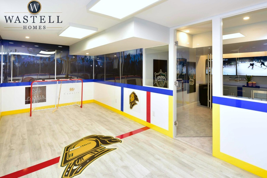 Man cave, sports room, rec room, hockey room, gray owl Benjamin Moore, dream home, model home, Wastell homes