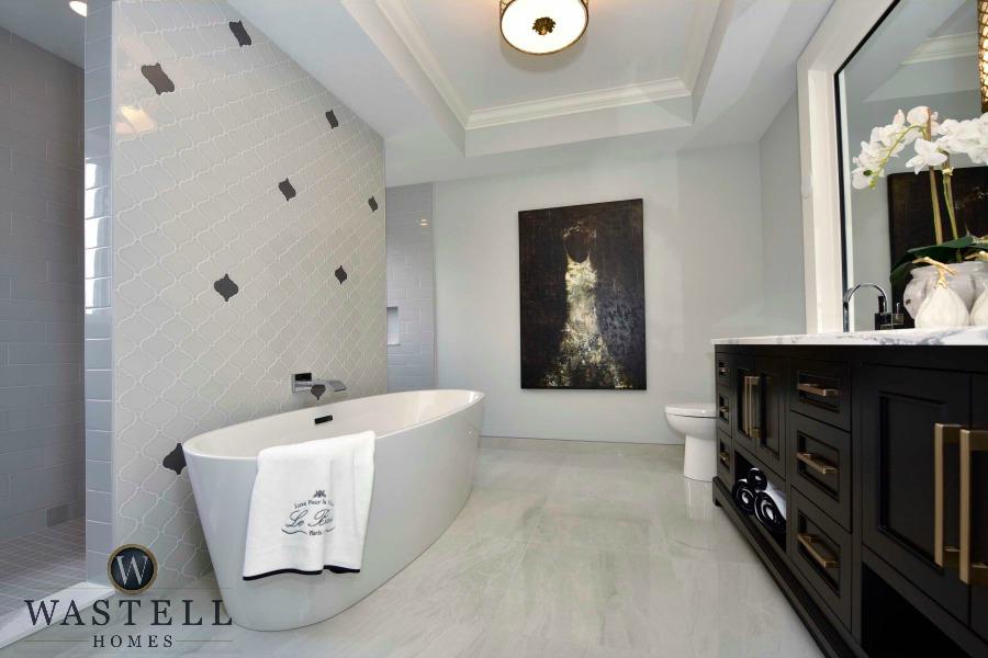 master ensuite, gray bathroom, luxury bathroom, gray owl Benjamin Moore, dream home, model home, Wastell homes