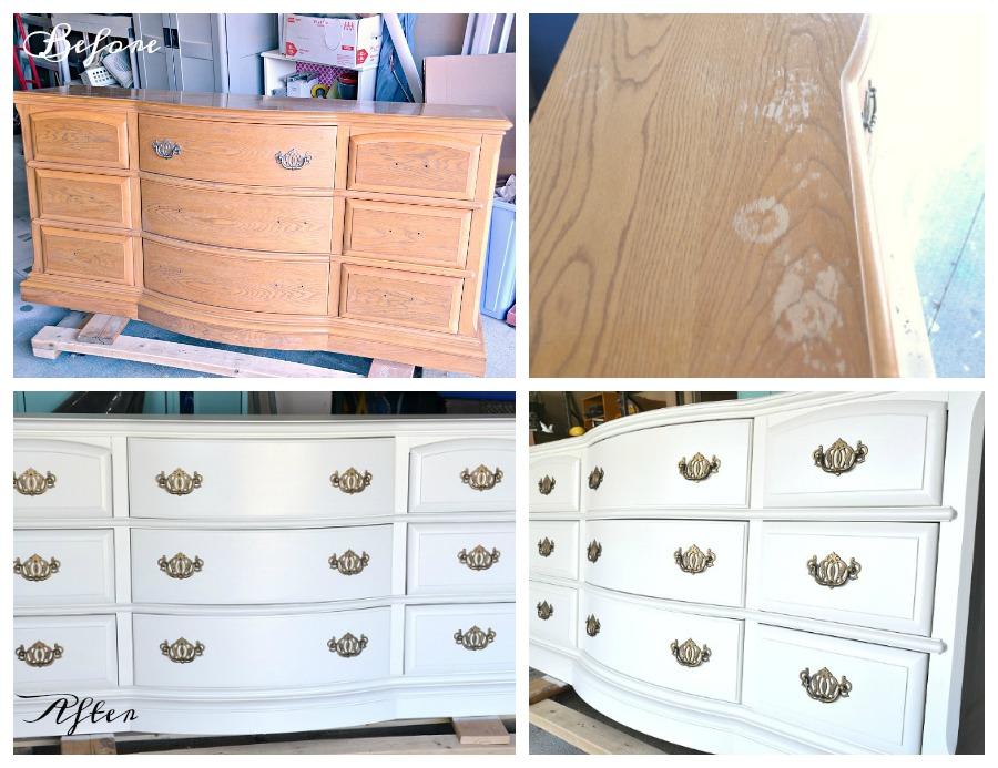 dresser makeover, oak dresser, white dresser, before and after dresser