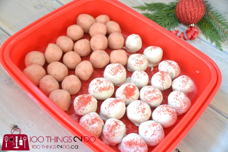 No-bake cake batter truffles, cake batter truffles, white chocolate dipped truffles, Christmas cookies
