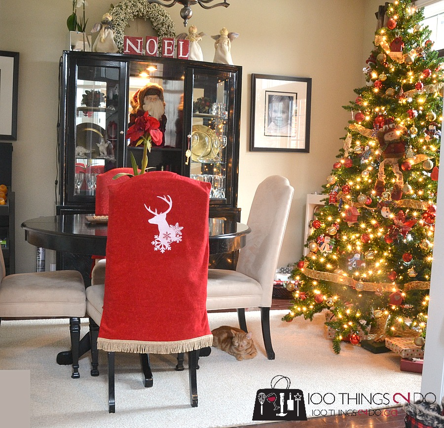 Christmas chair covers, chair cover, Rust-Oleum Chalked paint, Rust-Oleum NeverWet
