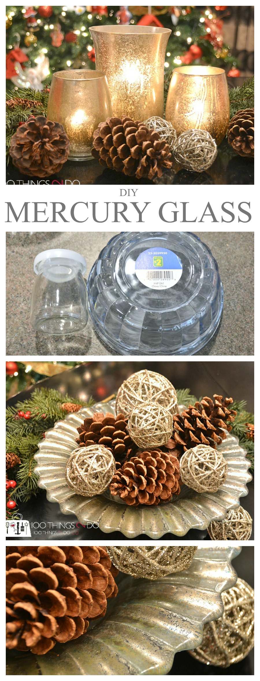 DIY Mercury glass, mercury glass, mercury glass vase, mercury glass votive, mercury glass bowl, Rust-Oleum Mirror Effect in gold