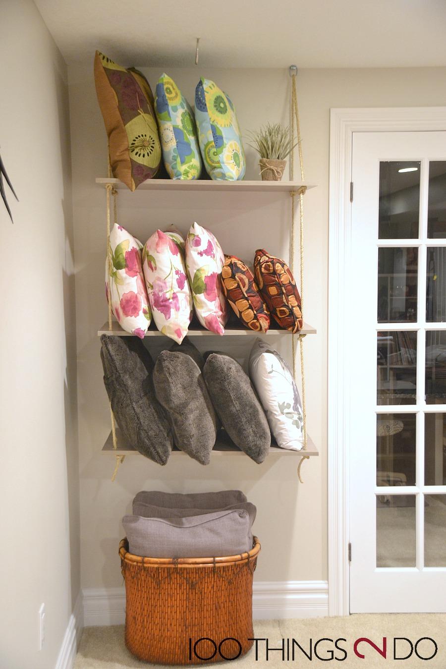 Throw pillow storage, DIY rope shelves, rope shelf, throw pillow organization, organizing throw pillows