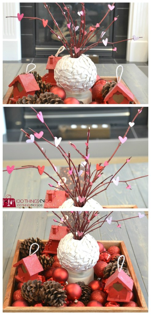 Valentine's decor, Valentine's Day decorations, Valentine's Day decor, Valentines Vignette, heart branches, papercraft hearts on branches, Valentine's coffee table