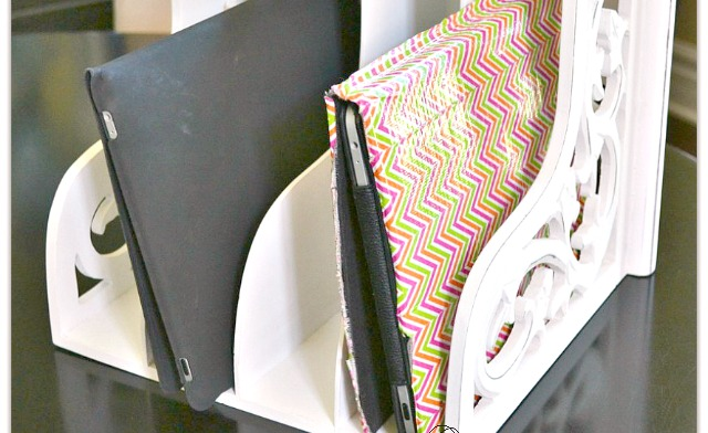 iPad charging station, charging station, iPad charger, repurposed magazine rack, easy iPad station