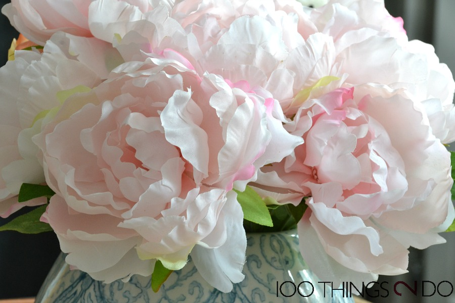 Spring vignette, Easter Vignette, silk flowers, faux flowers, pink peonies, Spring decor, Spring coffee table decor