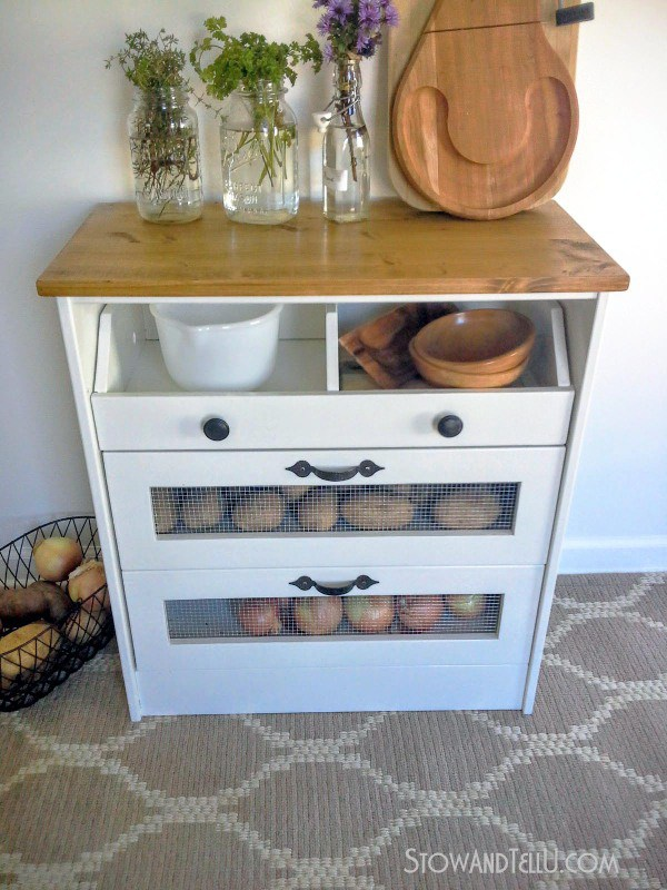 Ikea Rast hacks, 50 of the best Ikea Rast hacks, repurposed dresser, pantry organization, pantry storage, potato bin, Ikea rast makeover, nightstand, bedside table, Ikea hacks