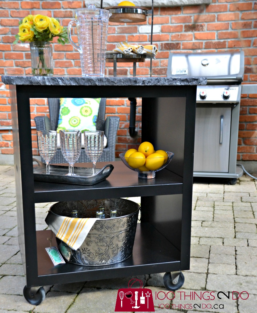 patio bar cart, bar cart, upcycled bar cart, patio grilling station, DIY grilling station, DIY bar cart, Progressive Countertops, Rustoleum