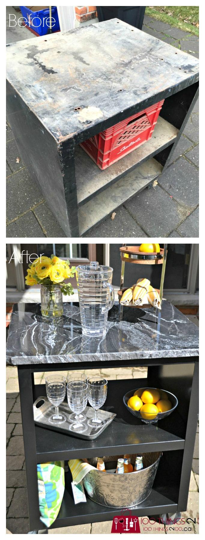 patio bar cart, bar cart, upcycled bar cart, patio grilling station, DIY grilling station, DIY bar cart, Progressive Countertops, Rustoleum